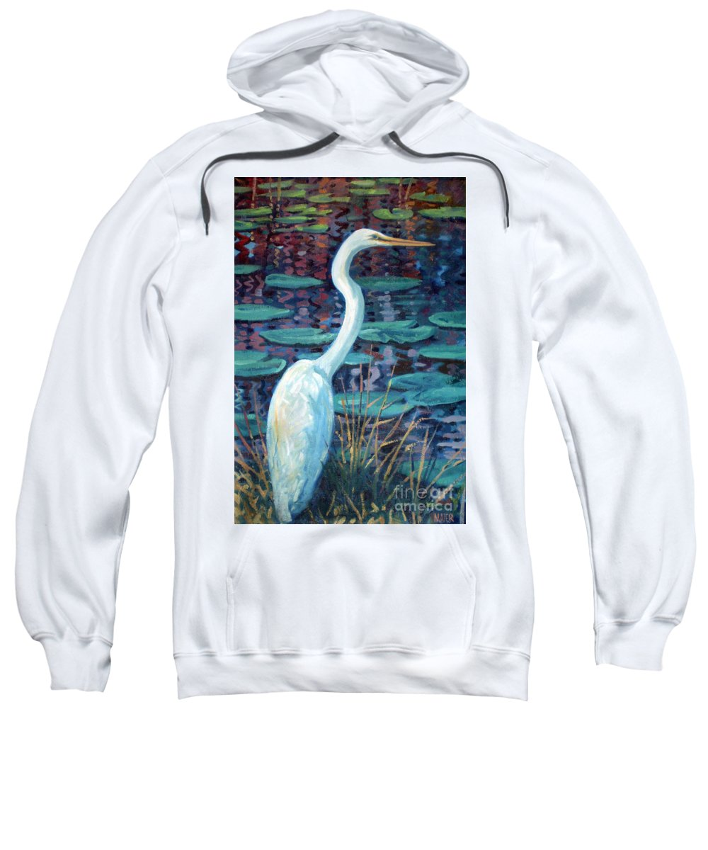 Egret Sweatshirt featuring the painting Great White Egret by Donald Maier