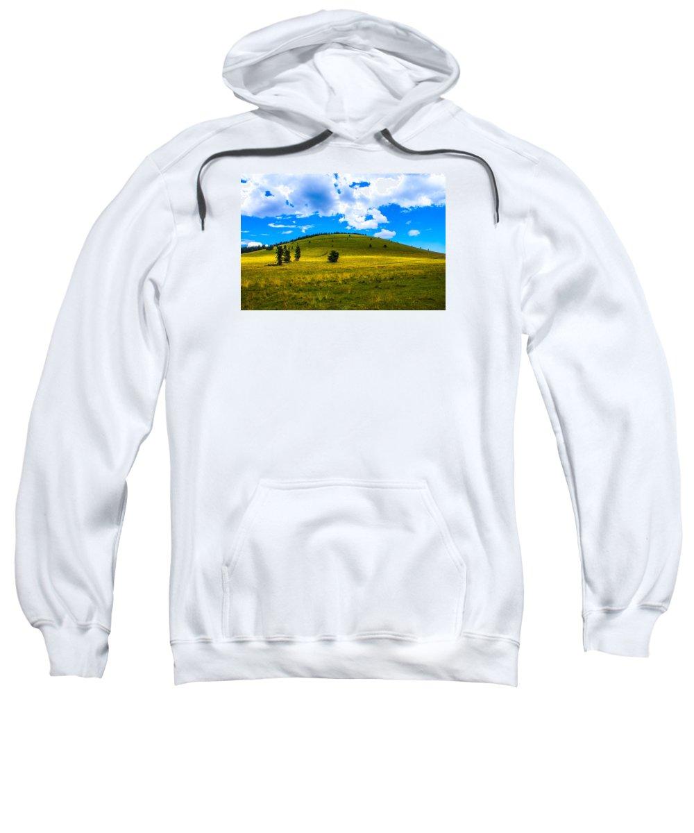 Green Peak Sweatshirt featuring the photograph Green Peak Yellow by Len Morales Jr