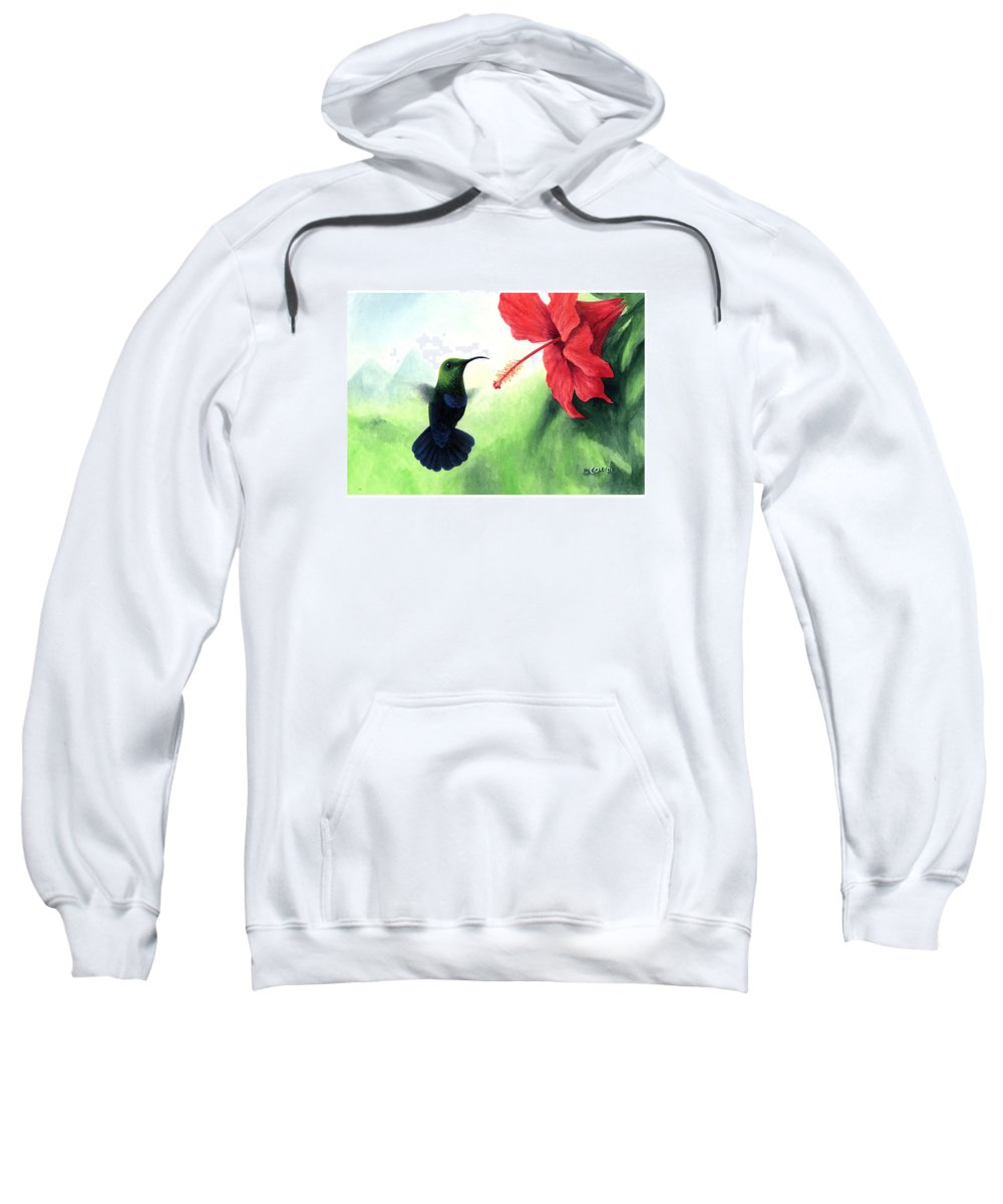 Chris Cox Sweatshirt featuring the painting Green-throated Carib Hummingbird And Red Hibiscus by Christopher Cox