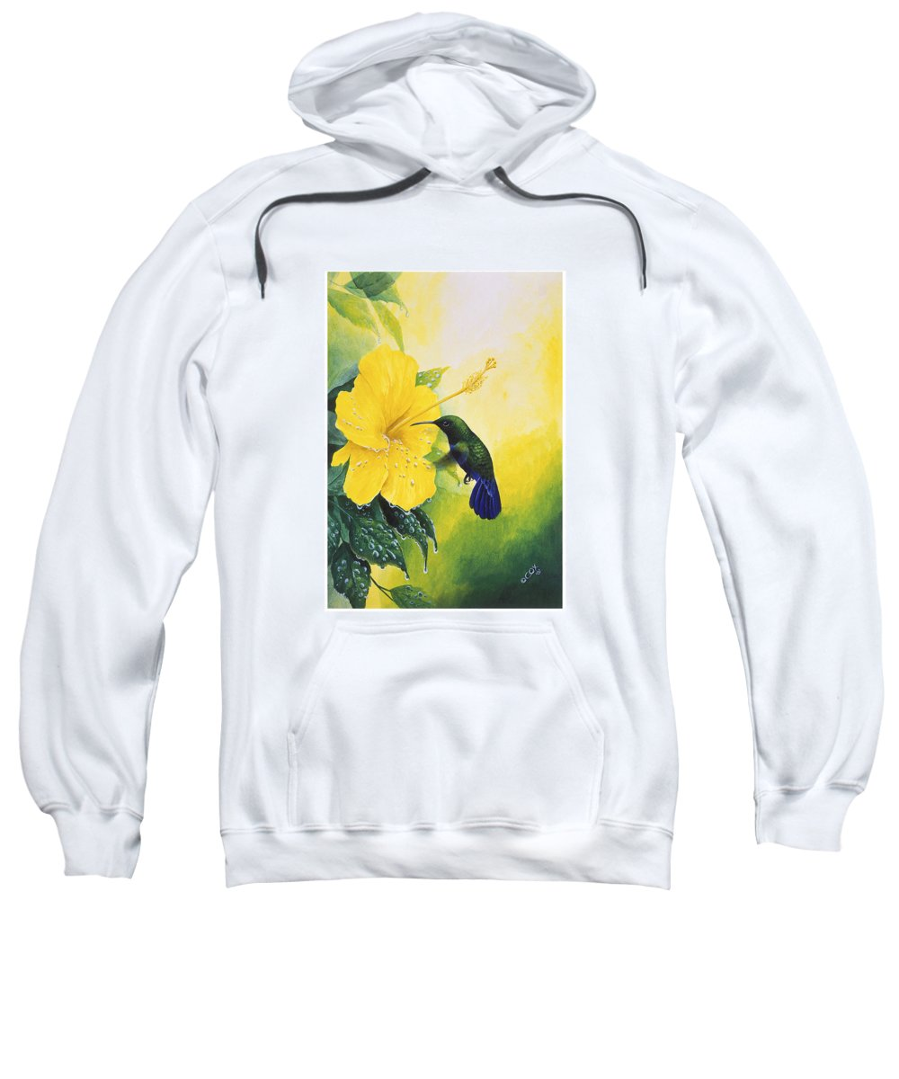Chris Cox Sweatshirt featuring the painting Green-throated Carib Hummingbird And Yellow Hibiscus by Christopher Cox