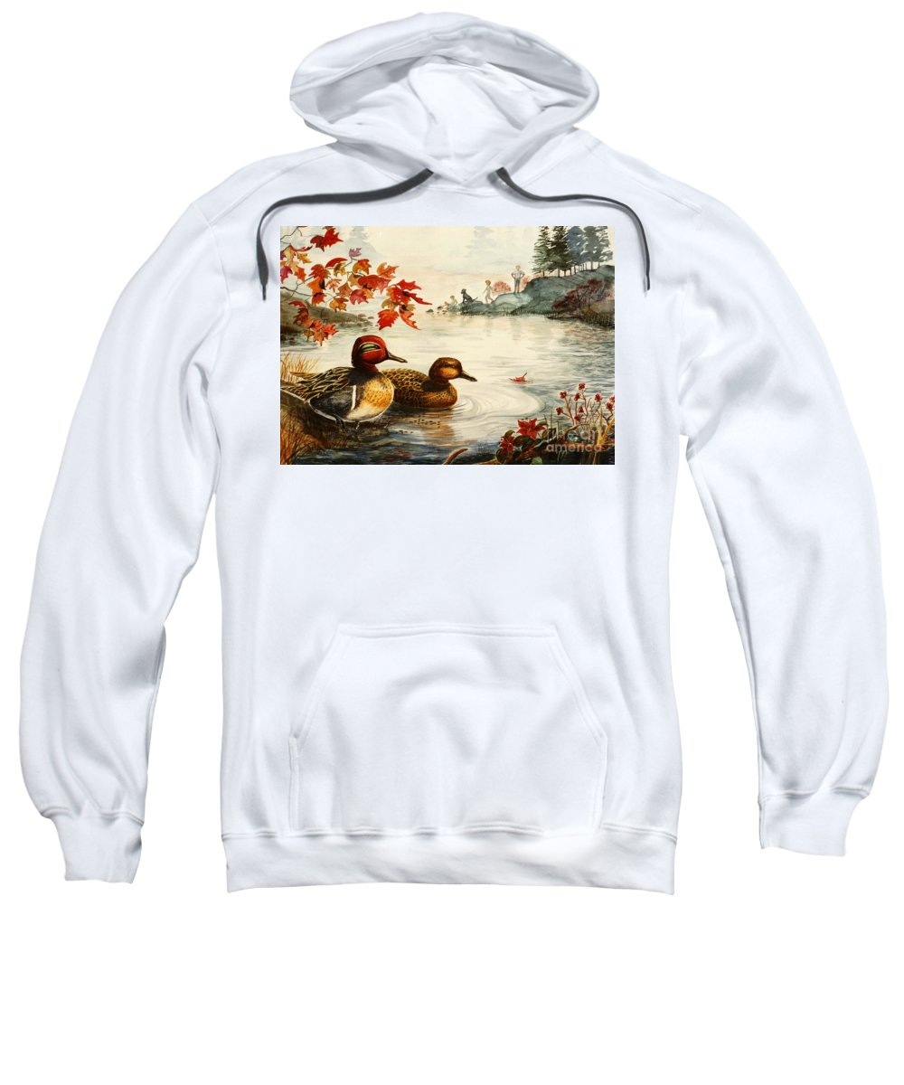 Ducks Sweatshirt featuring the painting Greenwinged Teal Ducks by Marilyn Smith