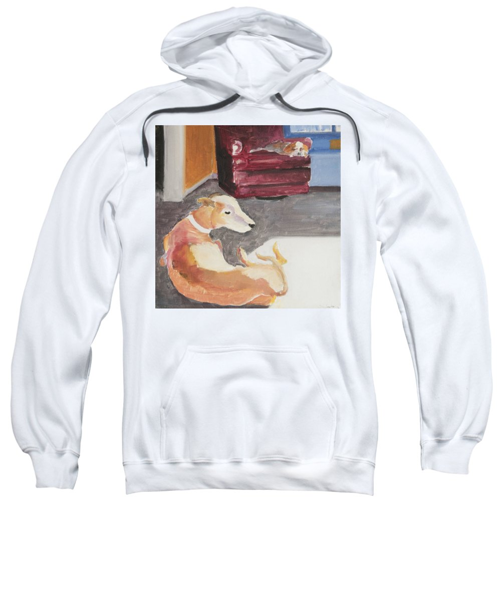 Greyhound Sweatshirt featuring the painting Greyhound And Spaniel by Craig Newland