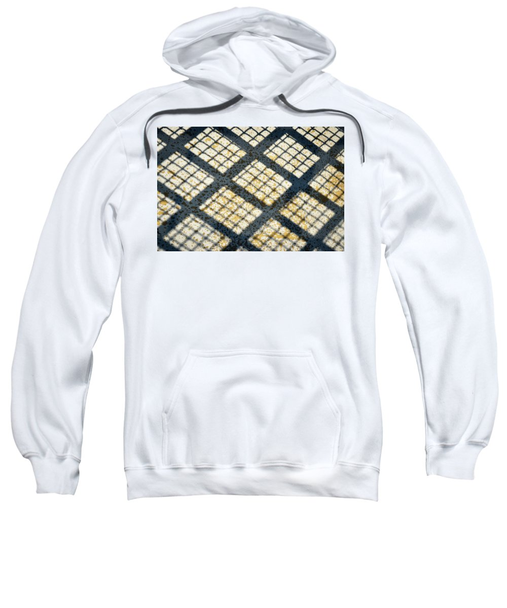 Material Sweatshirt featuring the photograph Grid Shadow On Concrete by Jozef Jankola