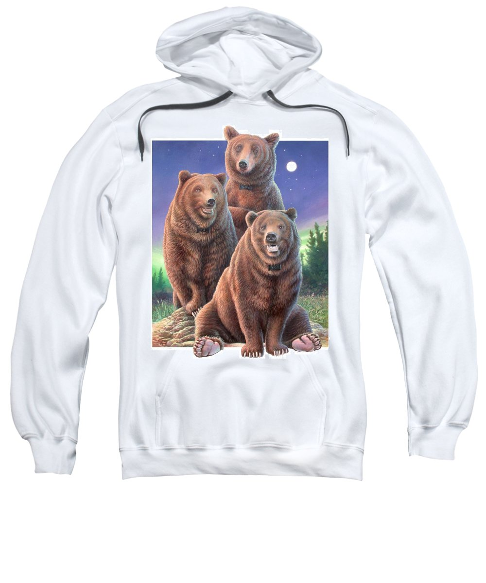 Grizzly Sweatshirt featuring the painting Grizzly Bears In Starry Night by Hans Droog