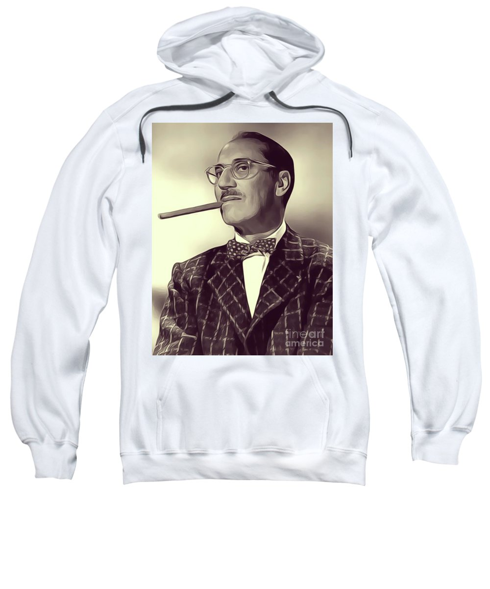 Groucho Sweatshirt featuring the digital art Groucho Marx by John Springfield