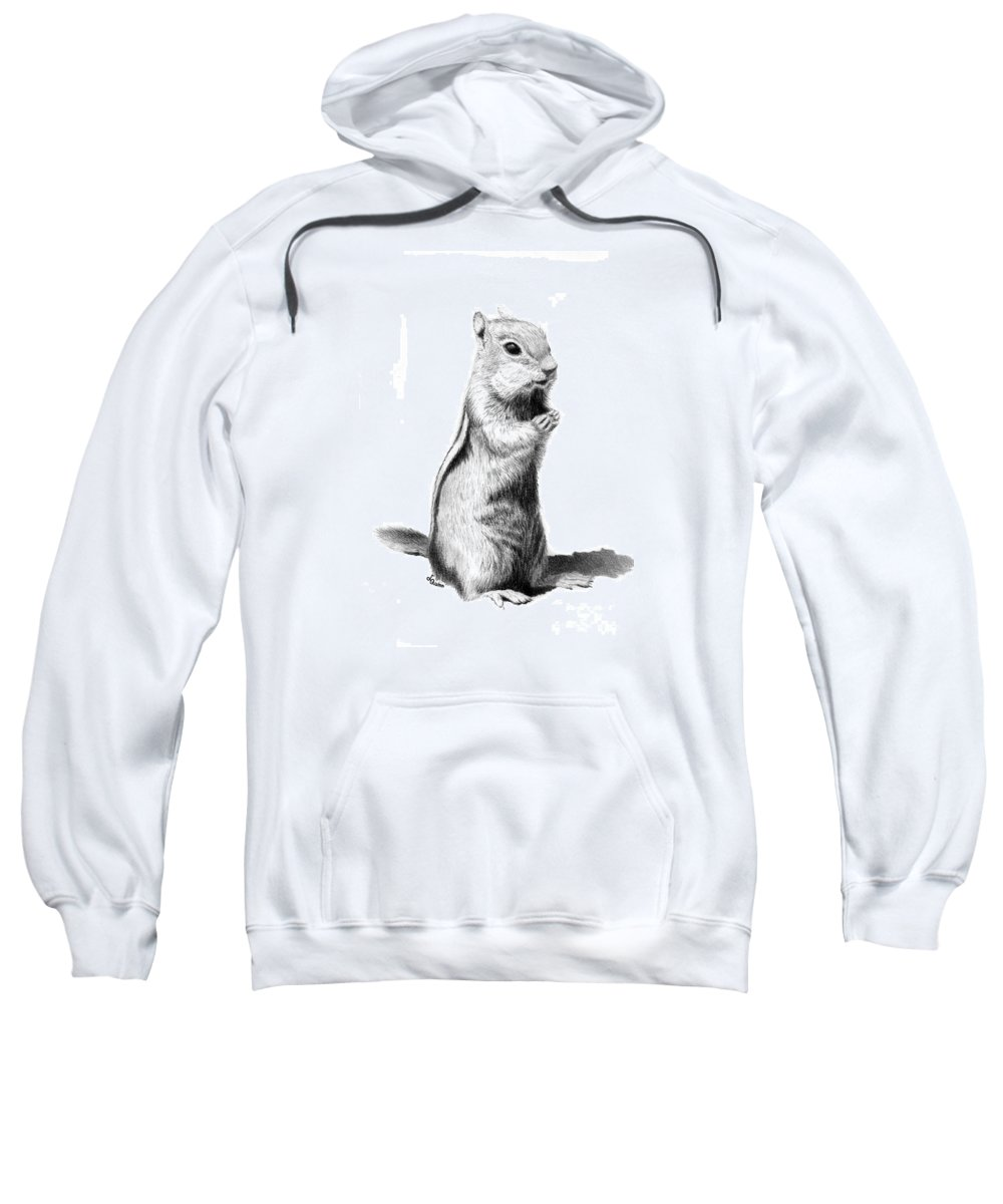 Ground Squirrel Sweatshirt featuring the drawing Ground Squirrel by Lynn Quinn