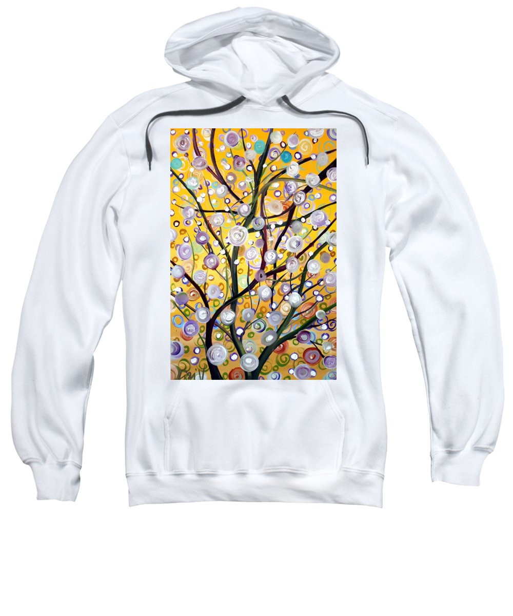 Landscape Sweatshirt featuring the painting Growing Together by Luiza Vizoli