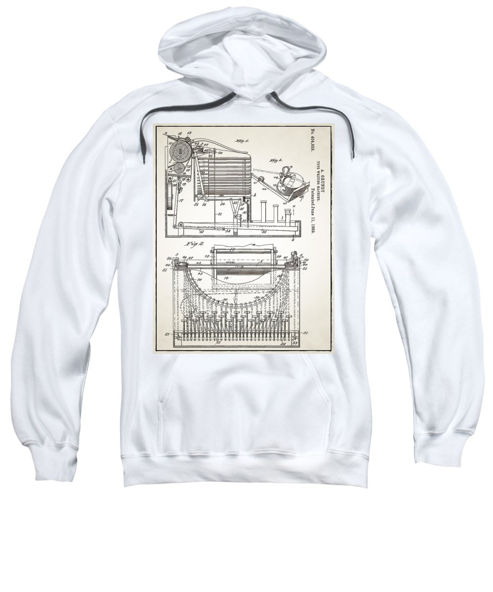 Grundy Sweatshirt featuring the digital art Grundy Typewriter Patent 1889 by Bill Cannon