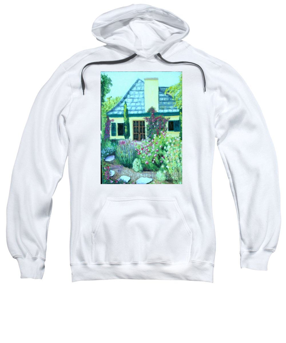 Cottage Sweatshirt featuring the painting Guest Cottage by Laurie Morgan