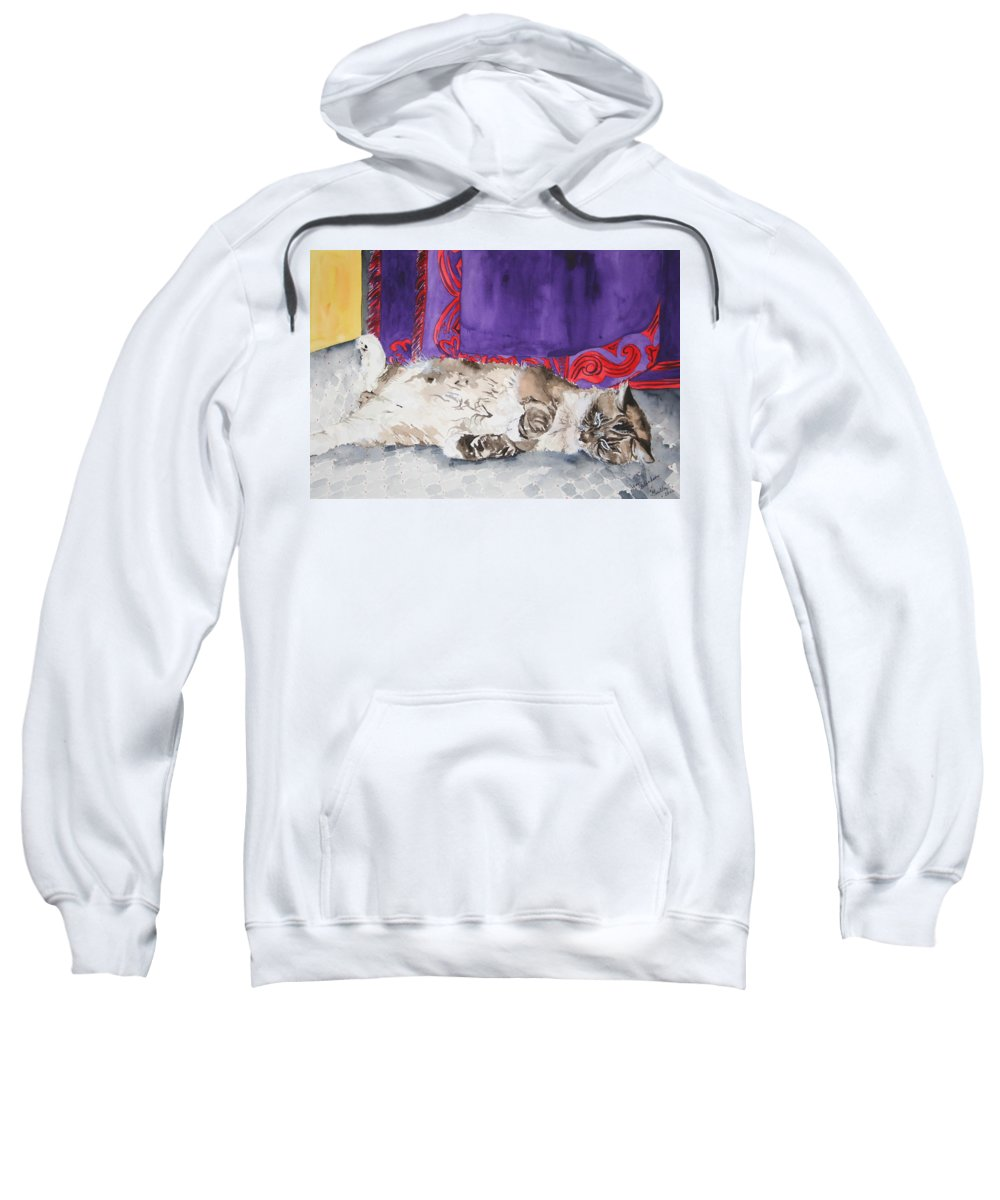 Cat Sweatshirt featuring the painting Guilley by Jean Blackmer