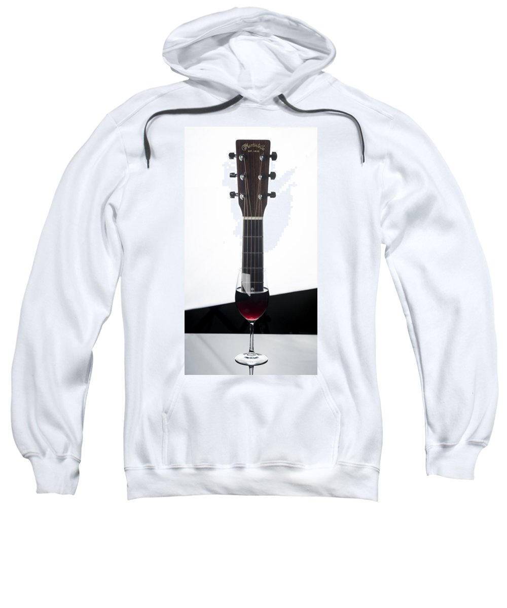 Guitar Sweatshirt featuring the photograph Guitar And Wine by Thomas Morris