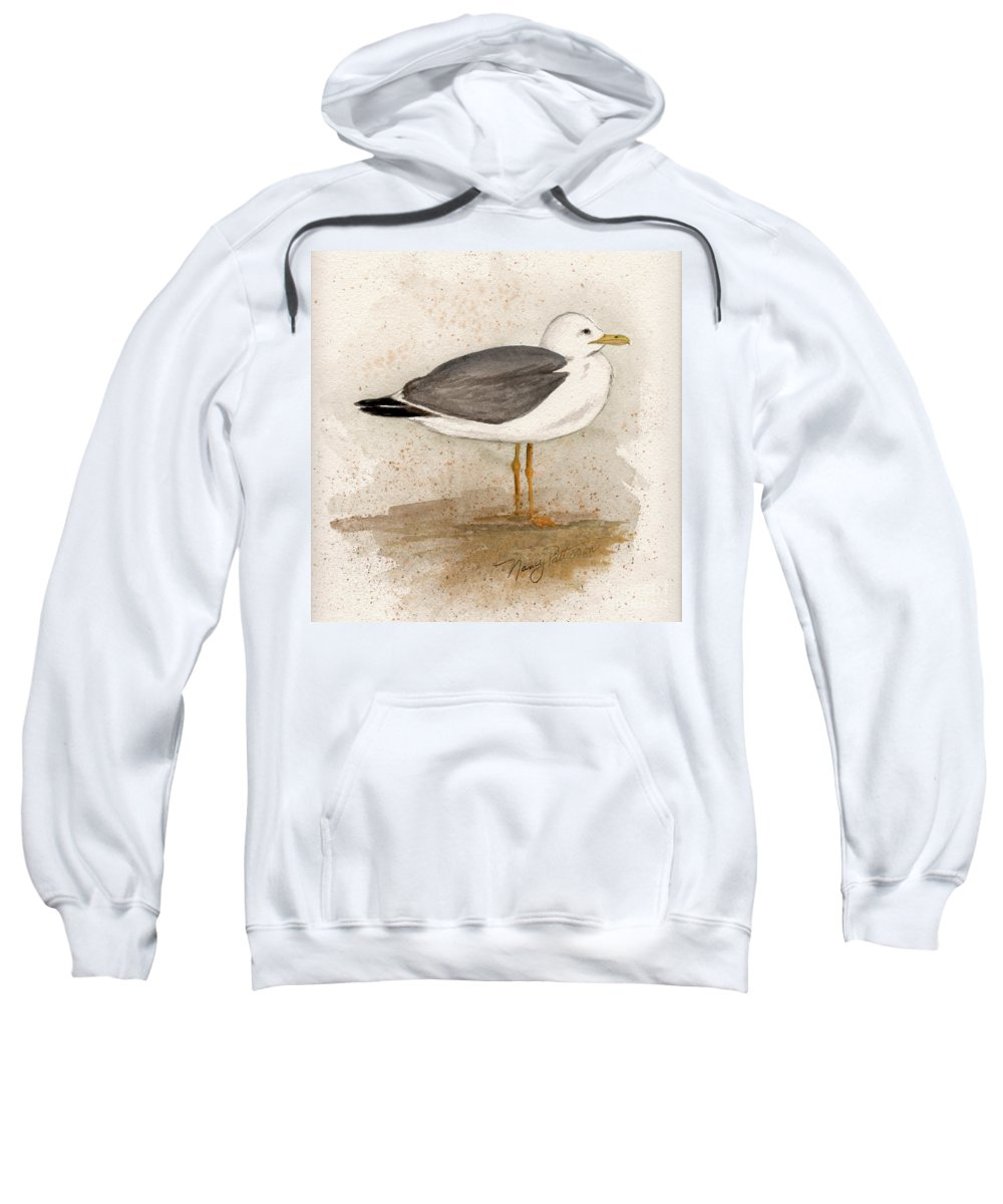 Seagull Sweatshirt featuring the painting Gull by Nancy Patterson