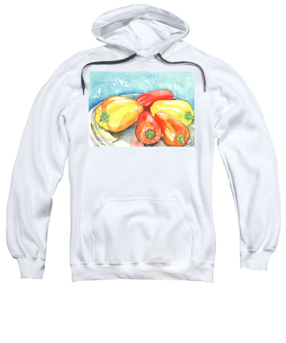 Gypsy Pepper Sweatshirt featuring the painting Gypsy Peppers by Helena Tiainen