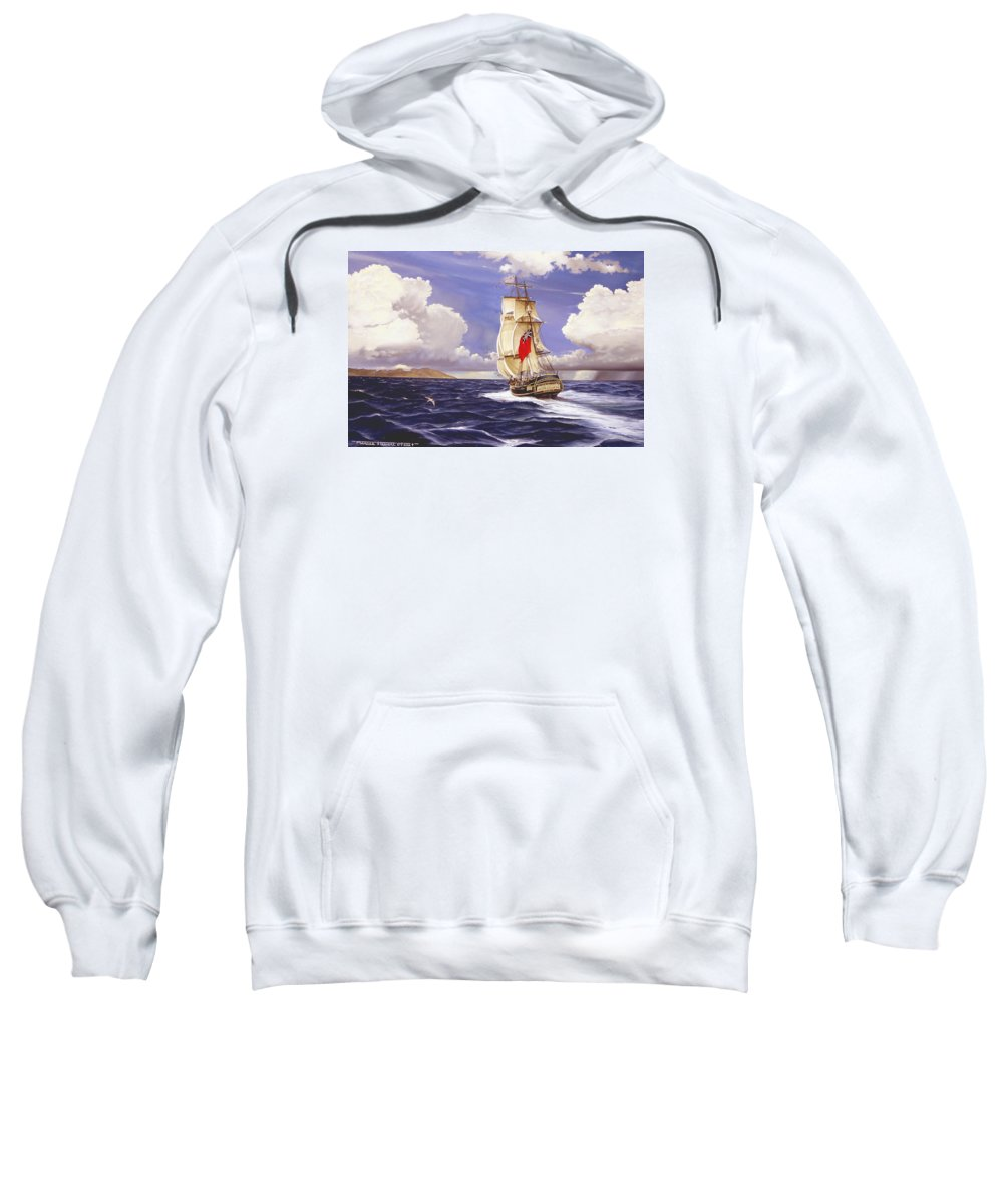 Marine Sweatshirt featuring the painting H. M. S. Bounty At Tahiti by Marc Stewart