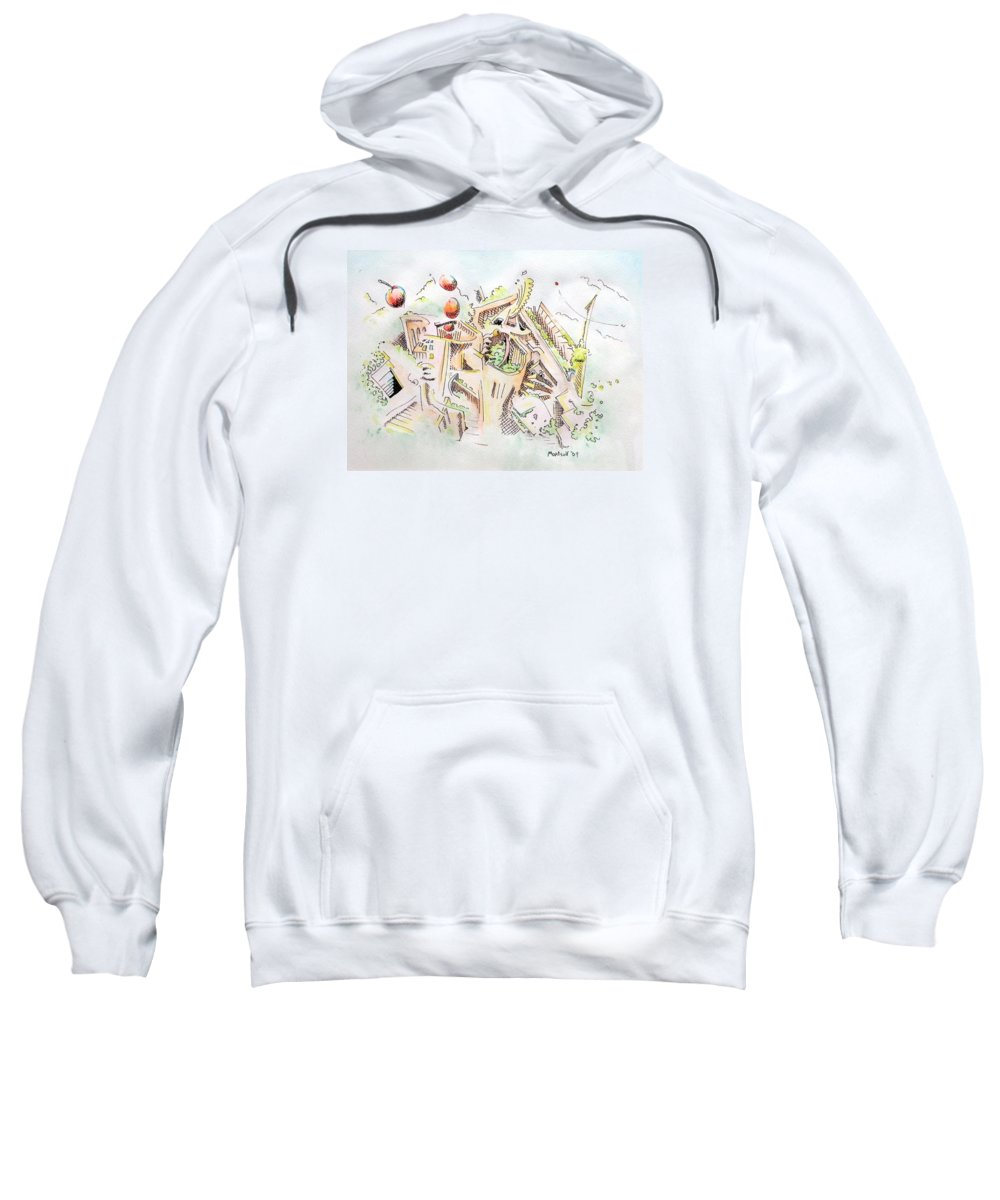 City Sweatshirt featuring the painting Habitat by Dave Martsolf