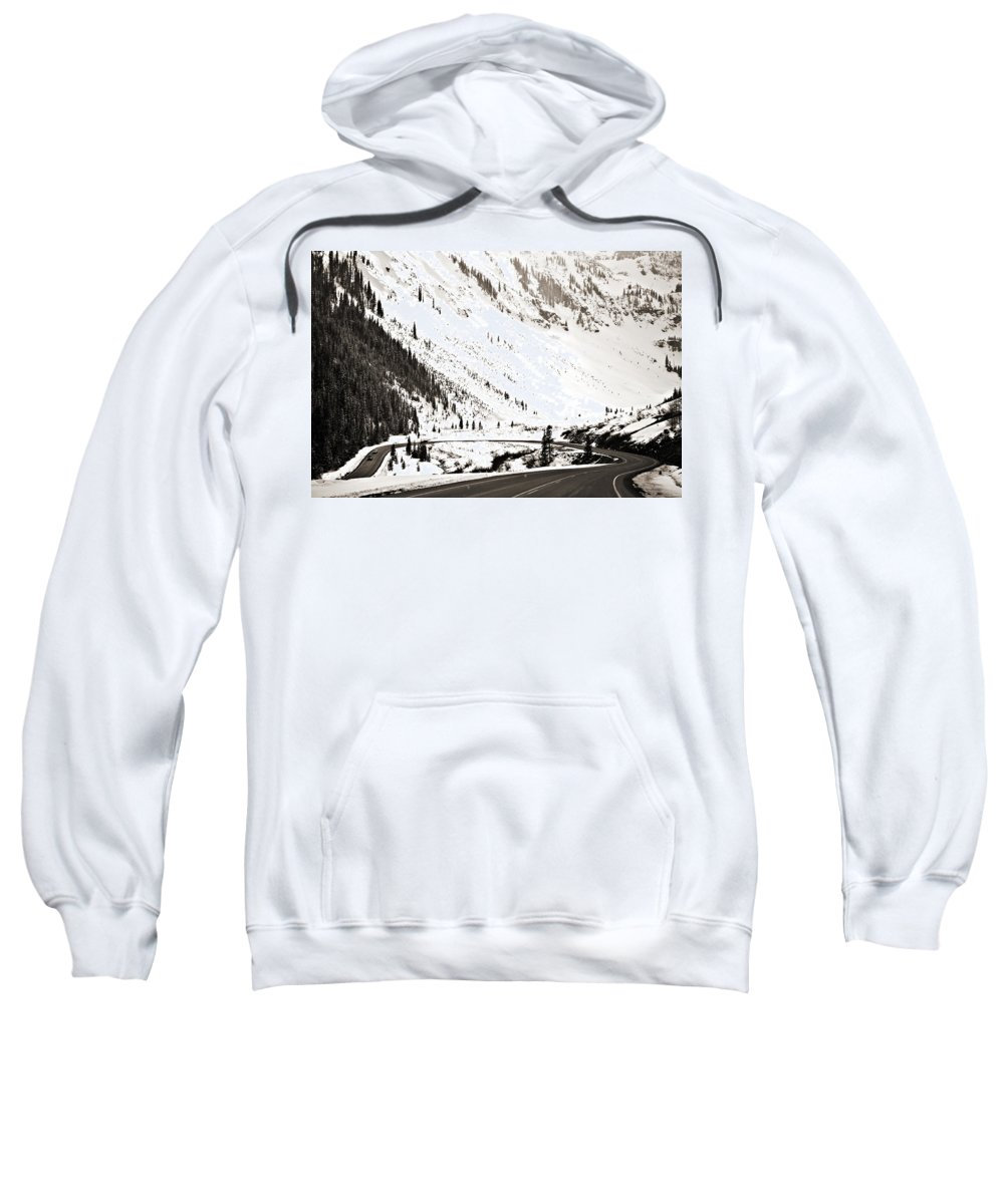 Curve Sweatshirt featuring the photograph Hairpin Turn by Marilyn Hunt
