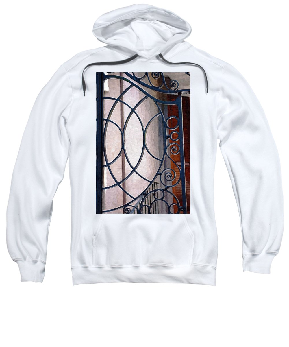 Half Circles Sweatshirt featuring the photograph Half Circles On Iron Gate by Donna Bentley