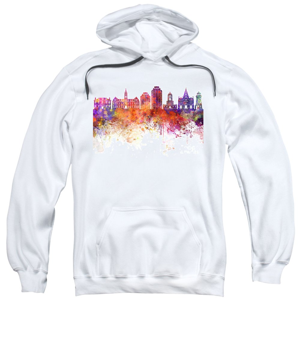 Halifax V2 Skyline Sweatshirt featuring the painting Halifax V2 Skyline In Watercolor Background by Pablo Romero