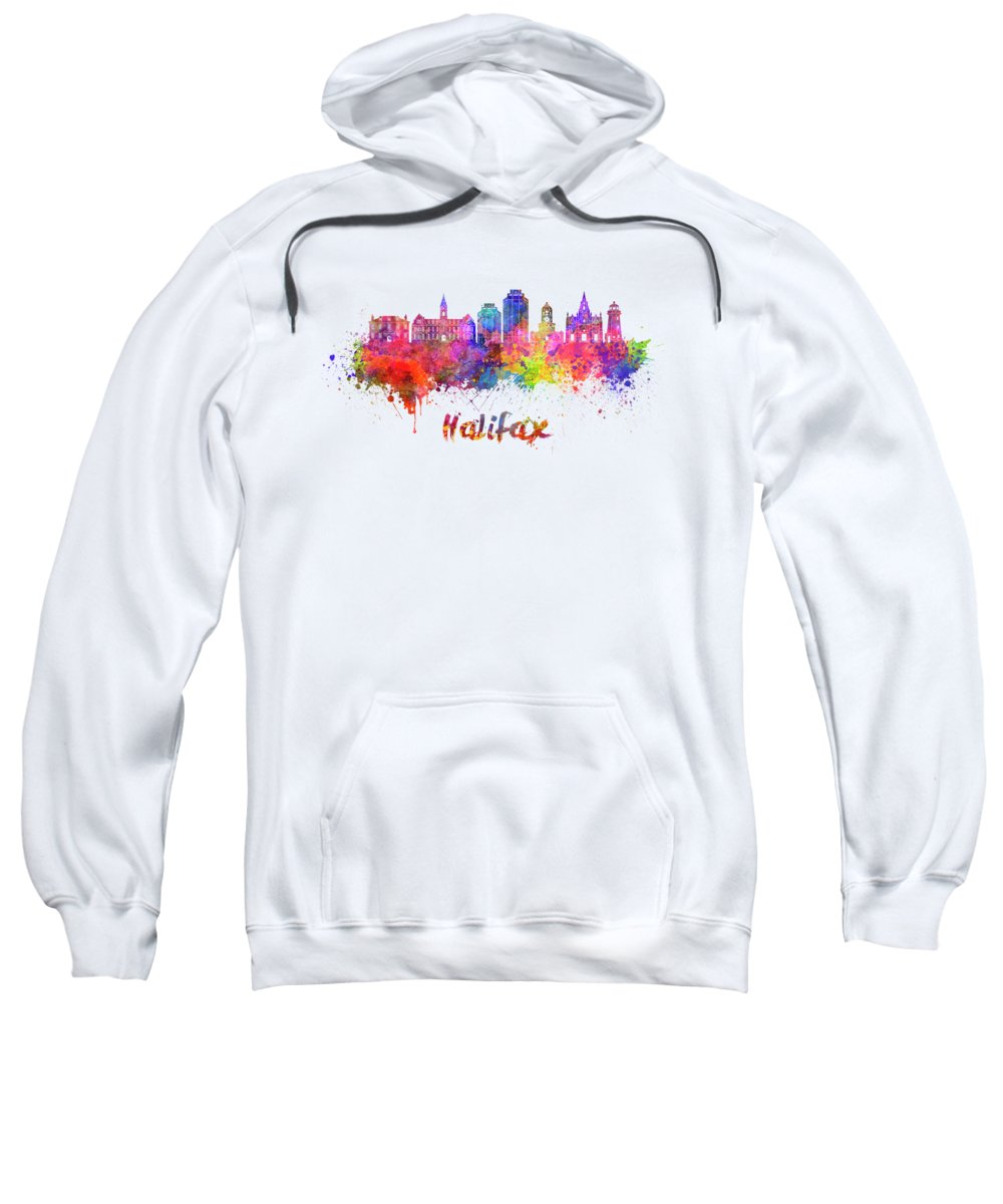 Halifax V2 Skyline In Watercolor Splatters With Clipping Path Sweatshirt featuring the painting Halifax V2 Skyline In Watercolor Splatters With Clipping Path by Pablo Romero