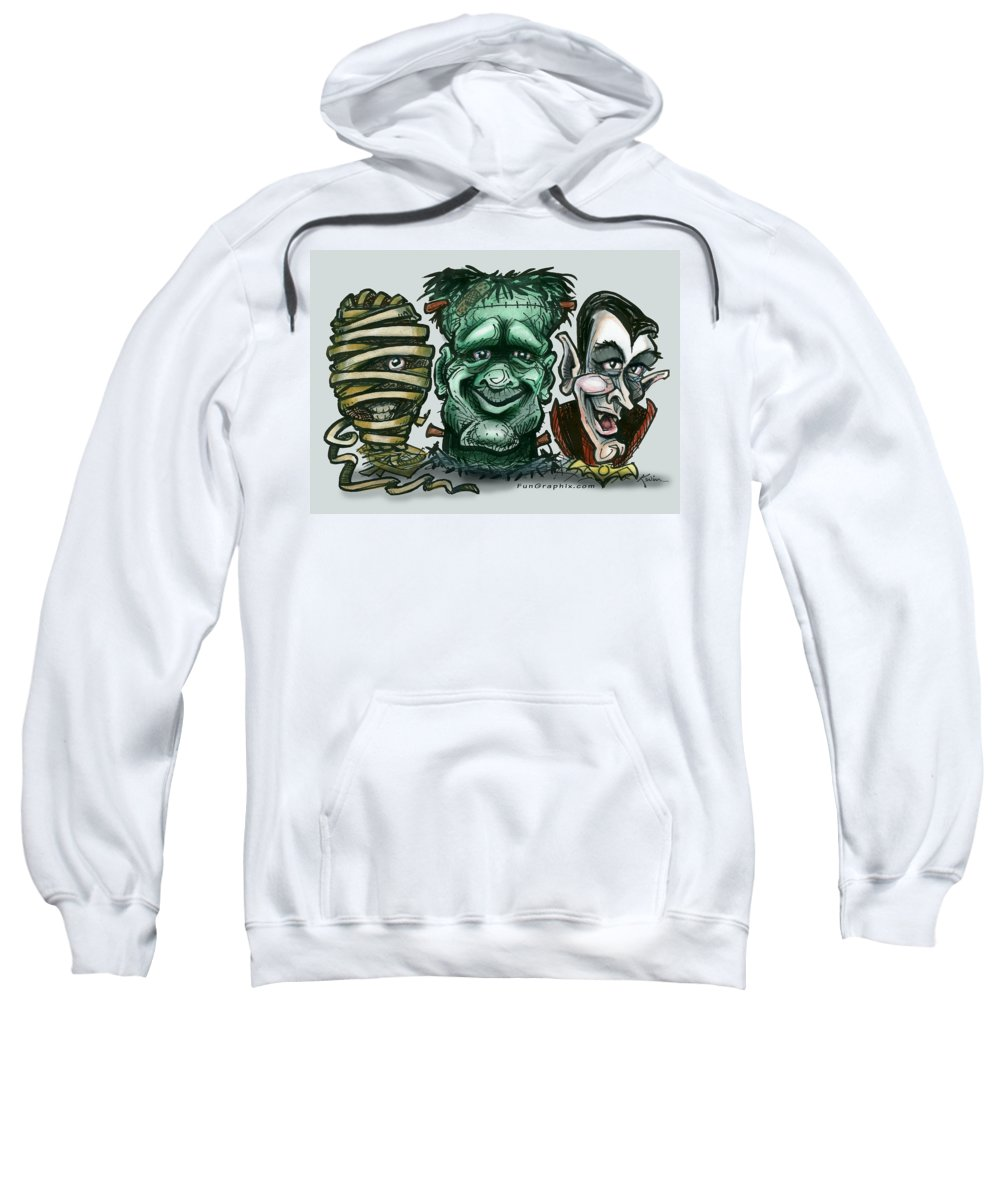 Halloween Sweatshirt featuring the greeting card Halloween Monsters by Kevin Middleton