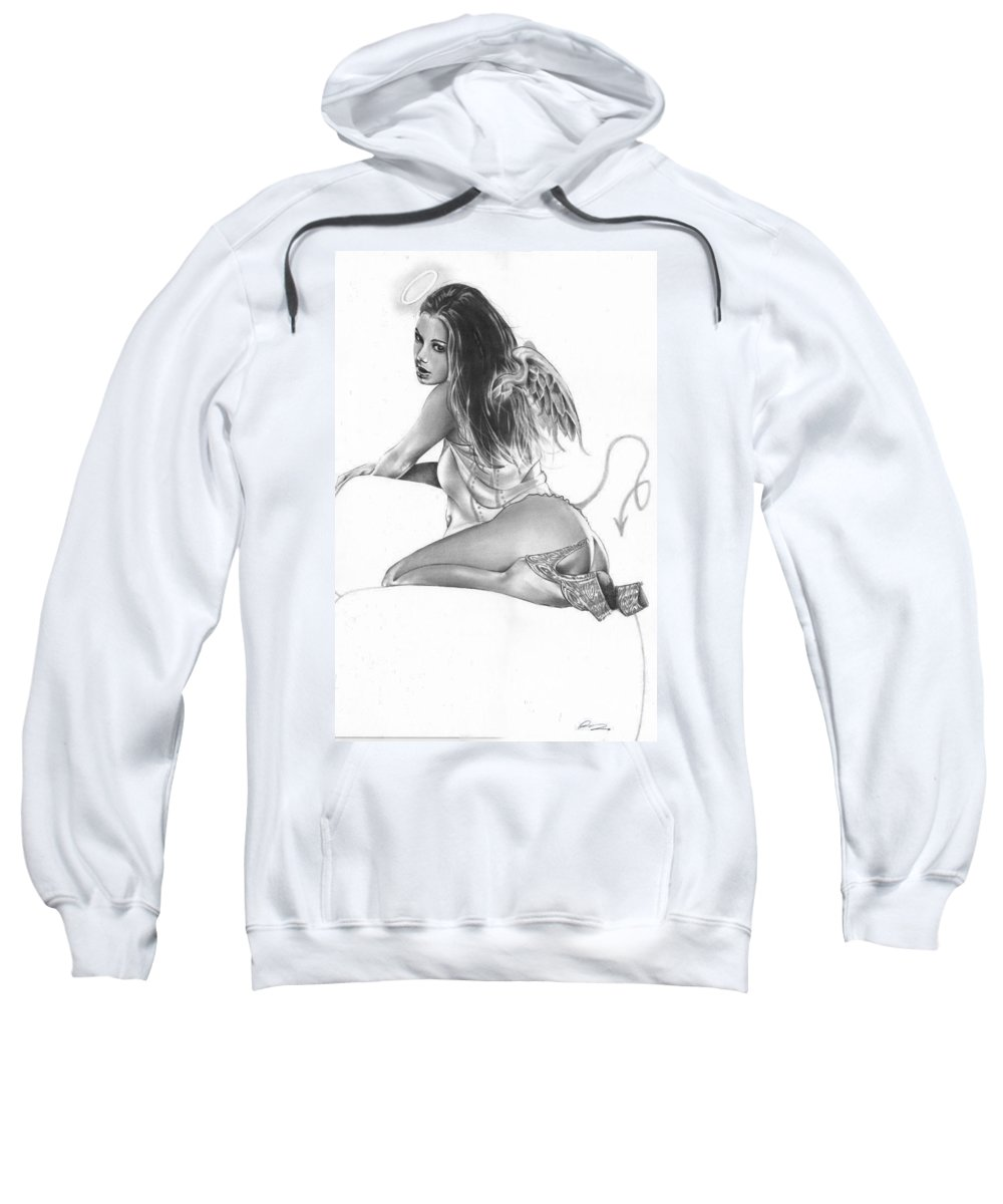 Pete Sweatshirt featuring the drawing Halo by Pete Tapang