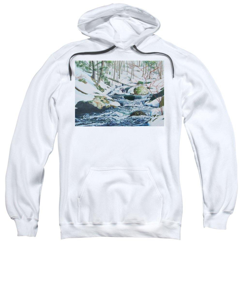 Snow Sweatshirt featuring the mixed media Hamburg Mountain Stream by Constance Drescher