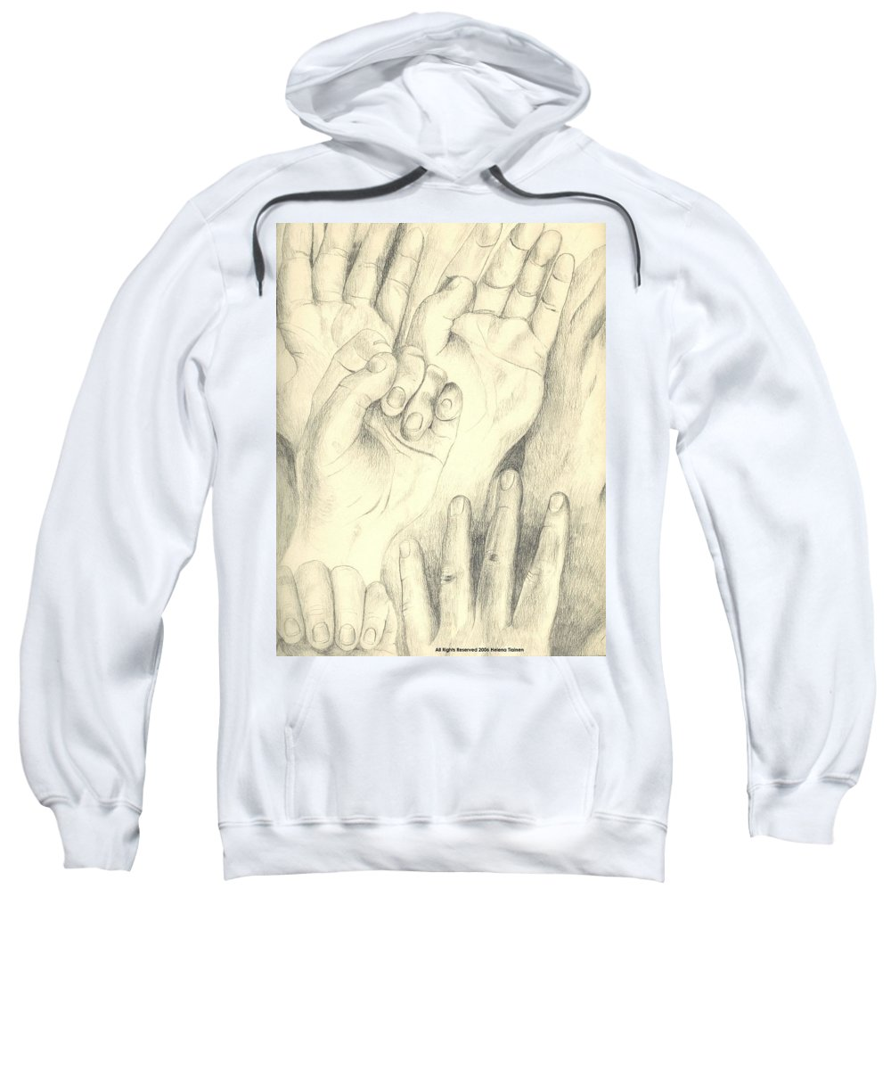 Hands Sweatshirt featuring the drawing Hands by Helena Tiainen