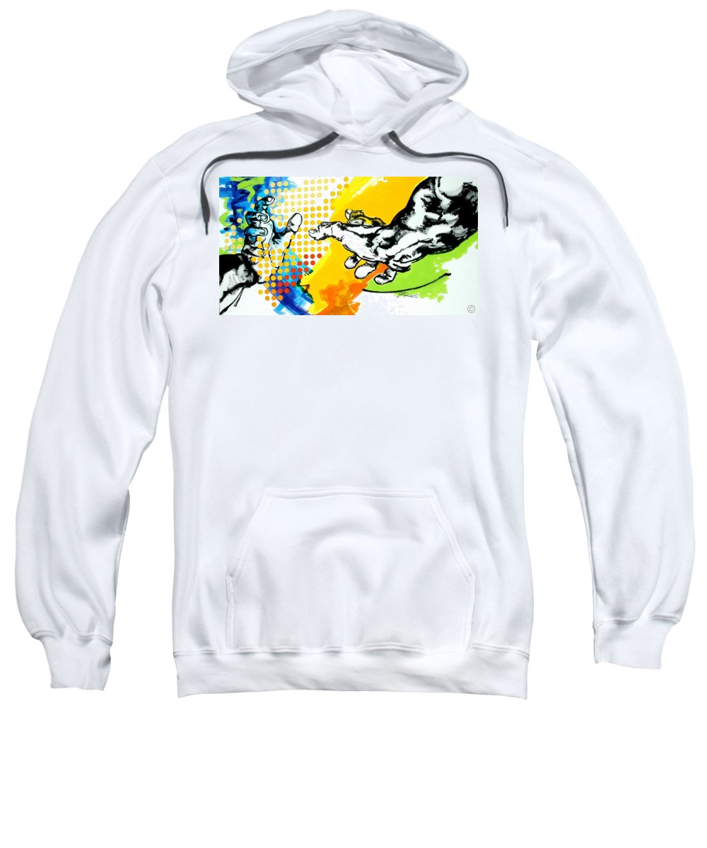 Classic Sweatshirt featuring the painting Hands by Jean Pierre Rousselet