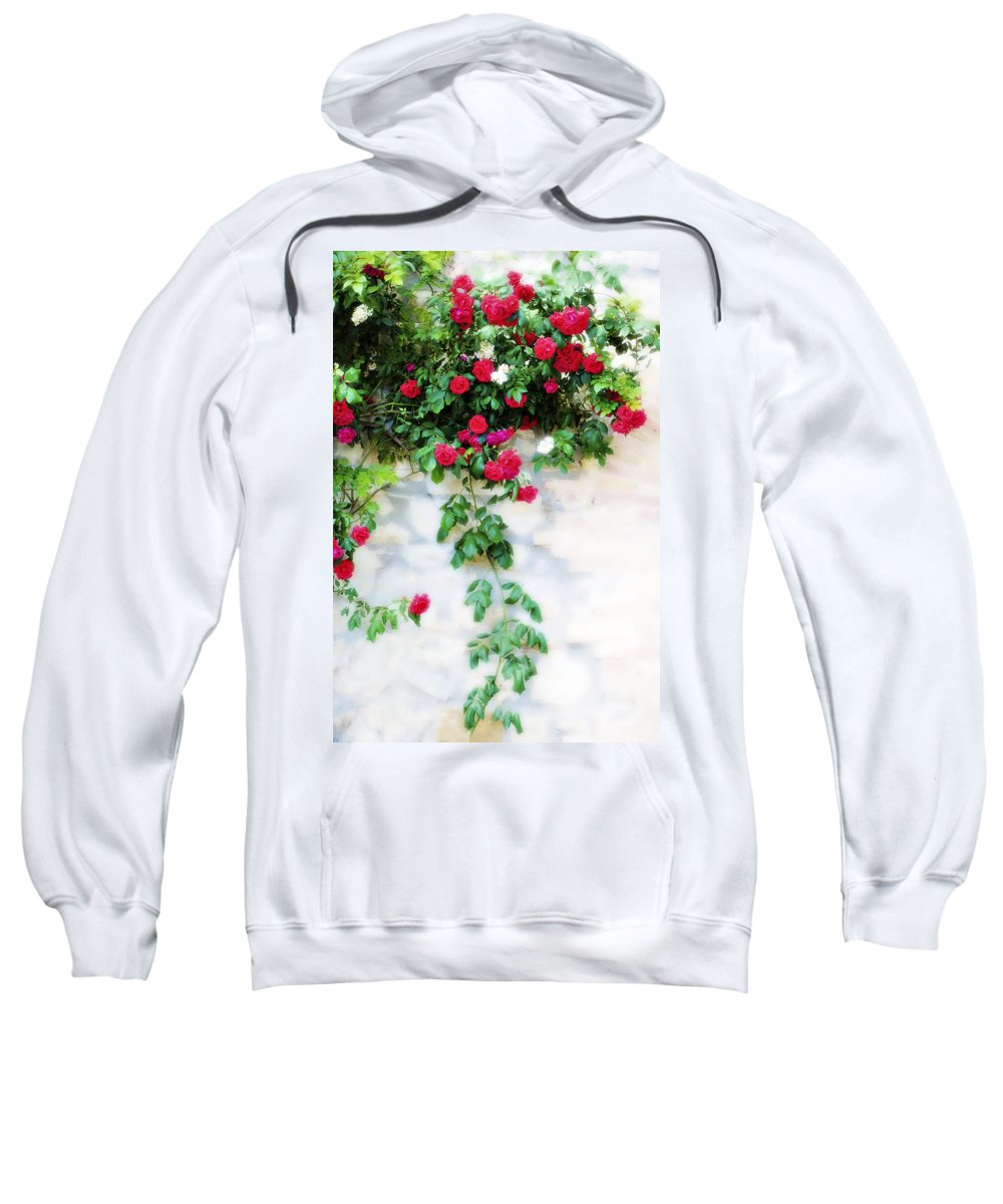 Hang Sweatshirt featuring the photograph Hangin Roses by Marilyn Hunt