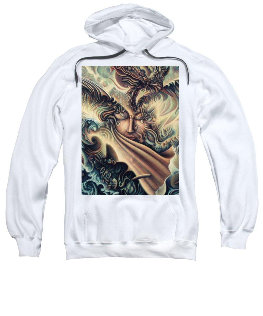 Spiritual Sweatshirt featuring the painting Hansa Swann by Nad Wolinska