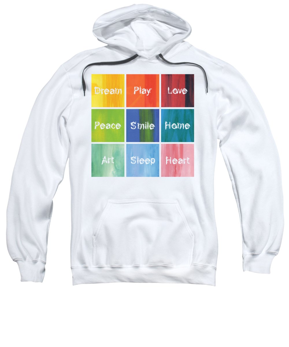 Love Sweatshirt featuring the mixed media Happy 9 In 1 by Kathleen Wong