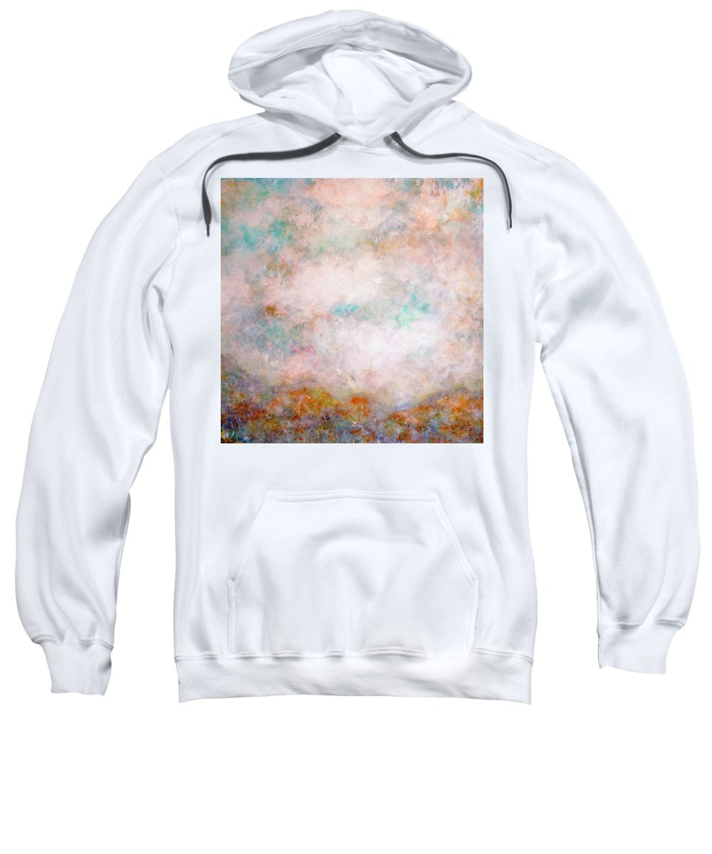 Clouds Sweatshirt featuring the painting Happy Dancing Clouds by Natalie Holland