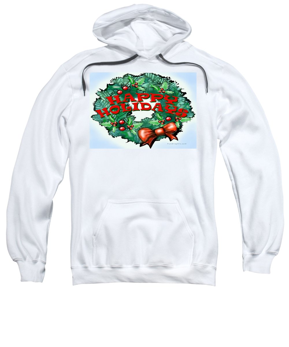 Happy Holidays Sweatshirt featuring the greeting card Happy Holidays by Kevin Middleton