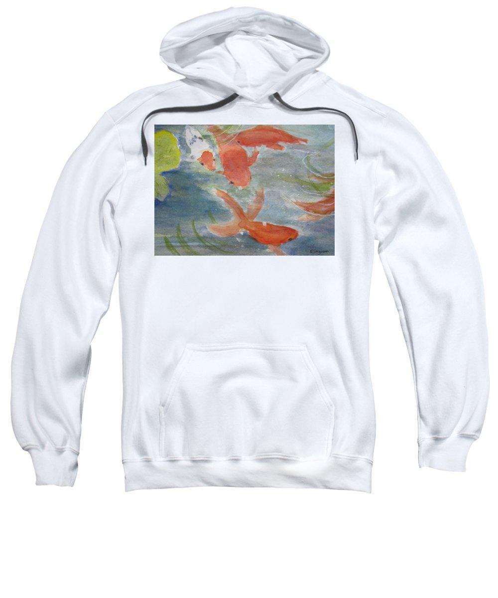 Fish Sweatshirt featuring the painting Happy Koi by Elvira Ingram