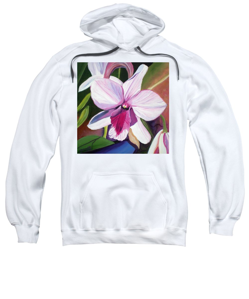 Kauai Sweatshirt featuring the painting Happy Orchid by Marionette Taboniar