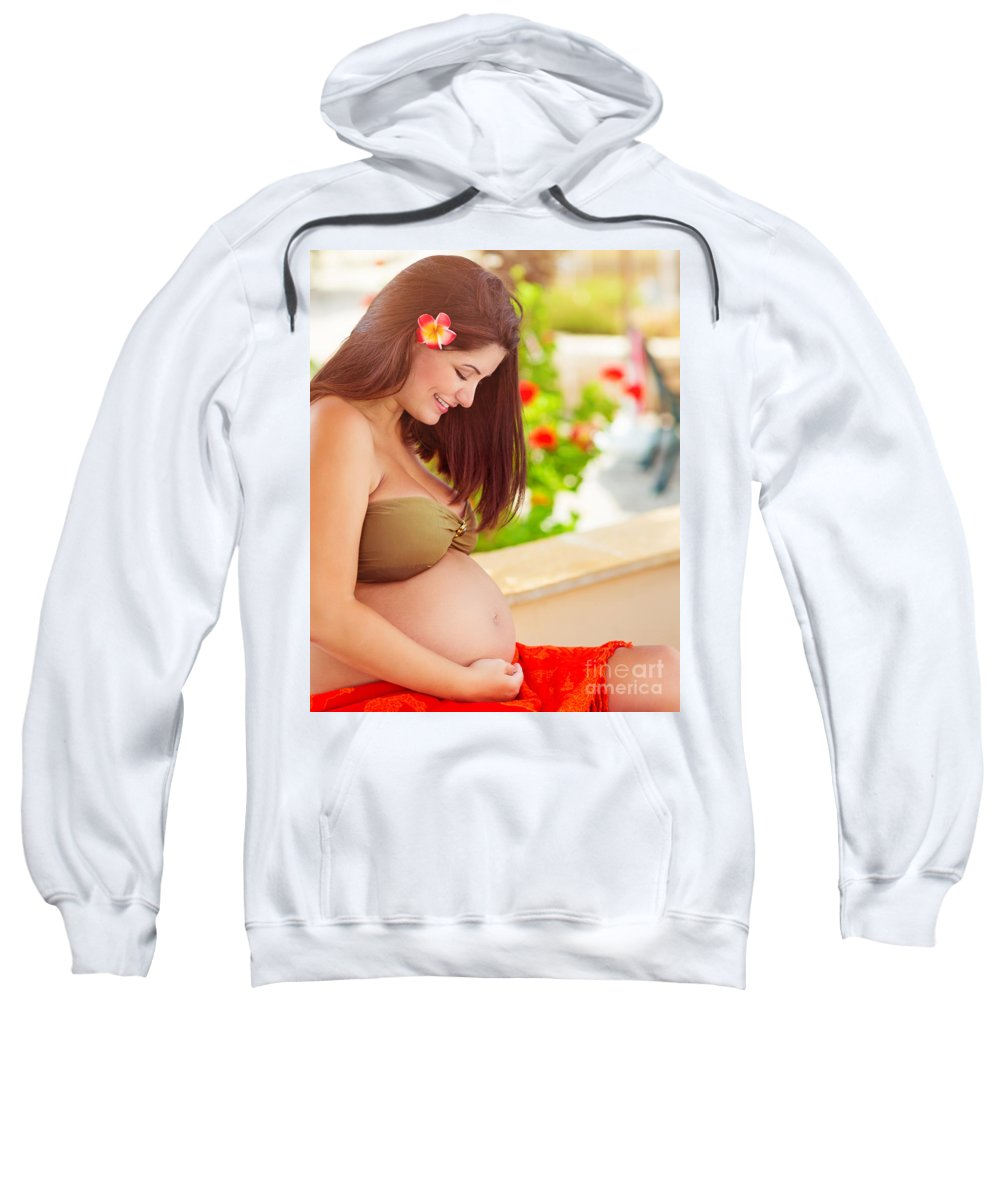 Awaiting Sweatshirt featuring the photograph Happy Pregnant Girl On The Beach Resort by Anna Om