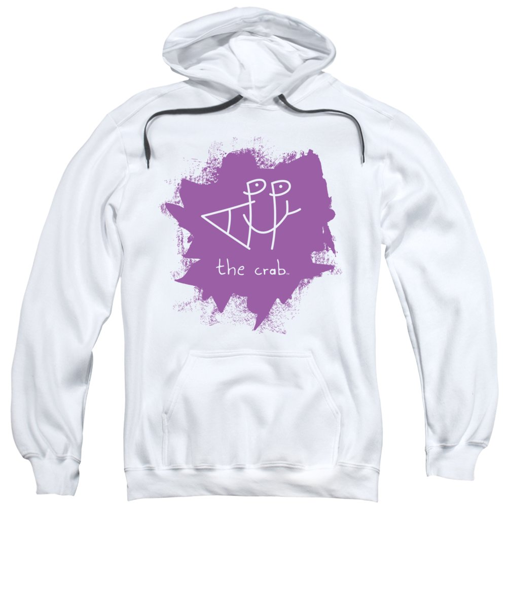 Happy Sweatshirt featuring the mixed media Happy The Crab - Purple by Chris N Rohrbach