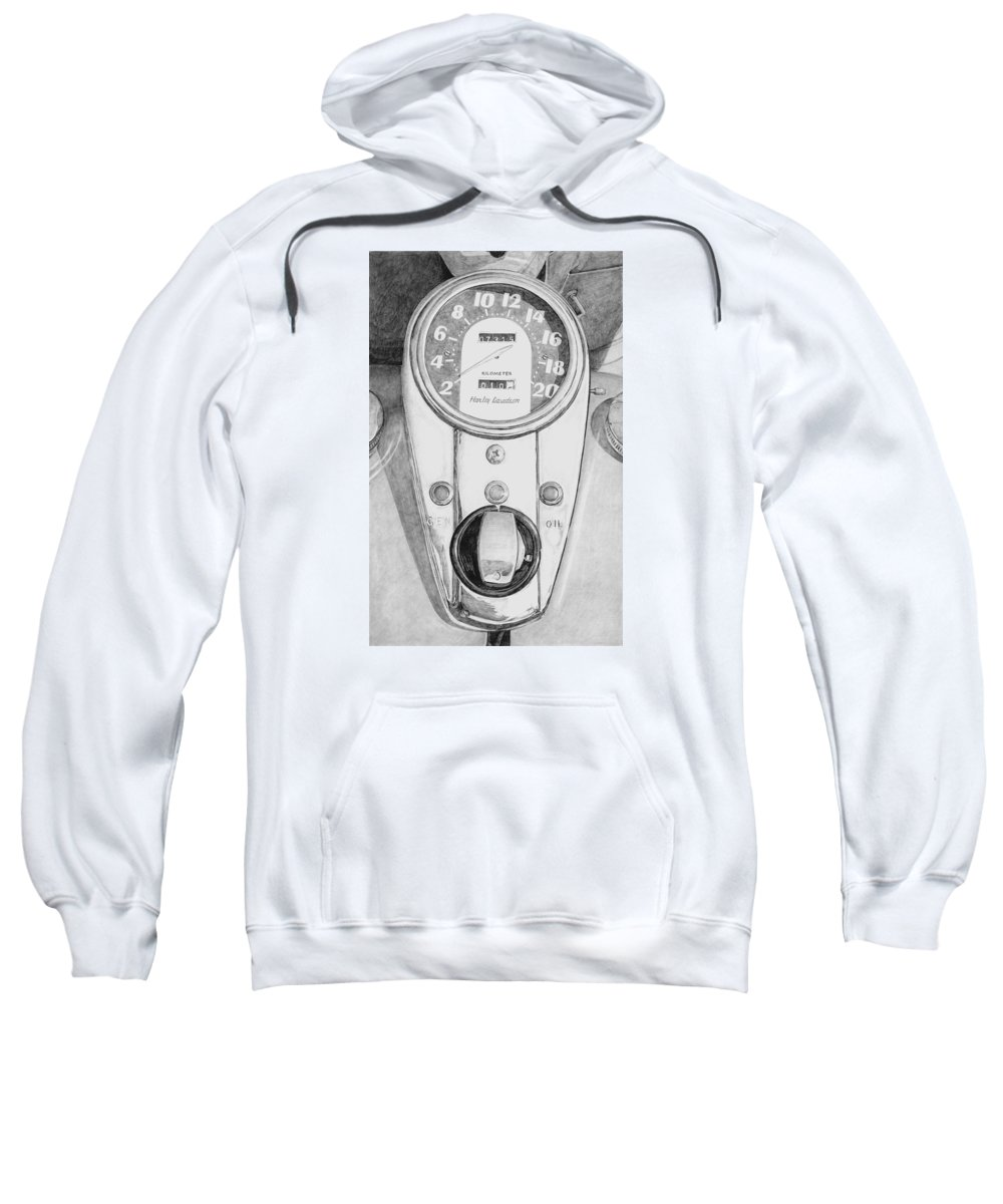 Motor Cycle Sweatshirt featuring the drawing Harley Davidson by Rob De Vries