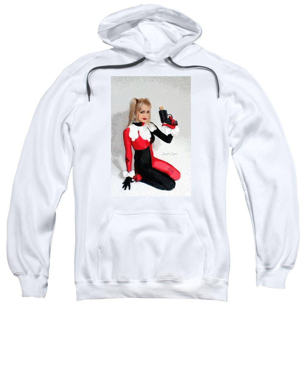 Adventure Sweatshirt featuring the painting Harley Quinn And Pistol by Leonardo Digenio