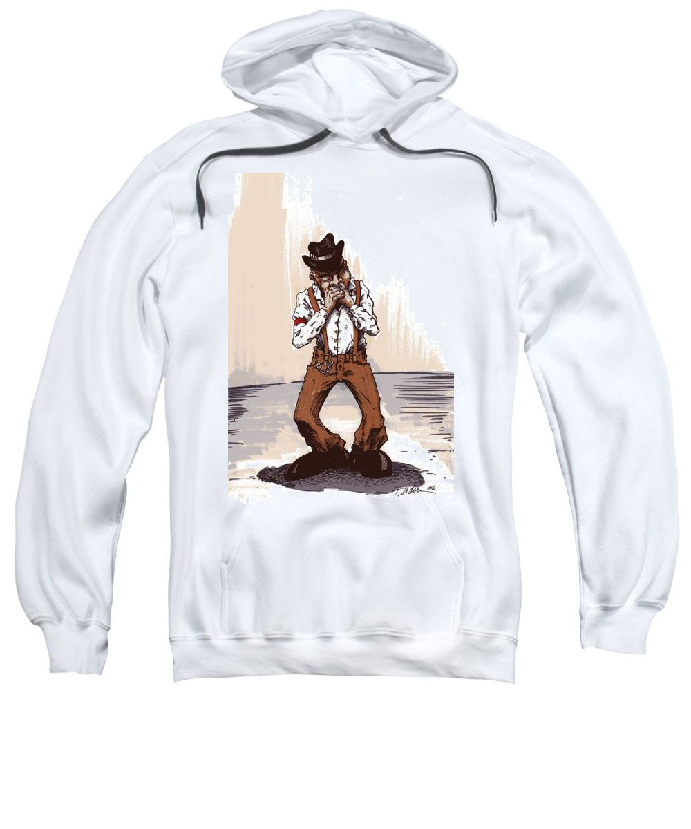 Blues Sweatshirt featuring the drawing Harmonica by Tobey Anderson