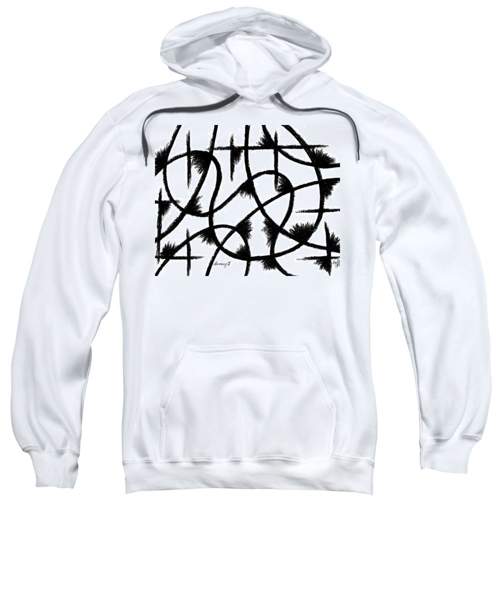 Modernist - Contemporany Sweatshirt featuring the drawing Harmony II by Arides Pichardo