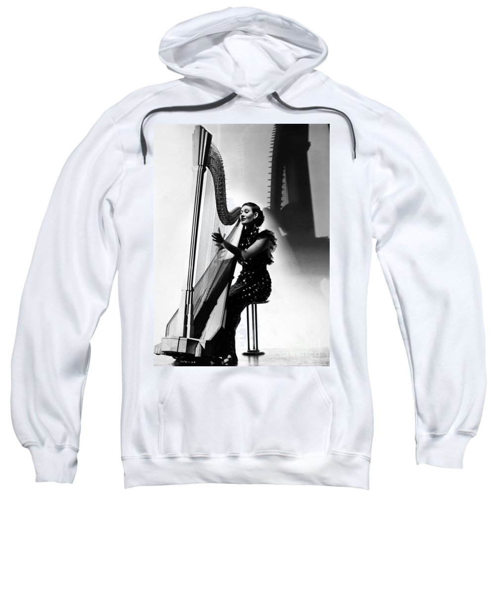 1935 Sweatshirt featuring the photograph Harpist, 1935 by Granger