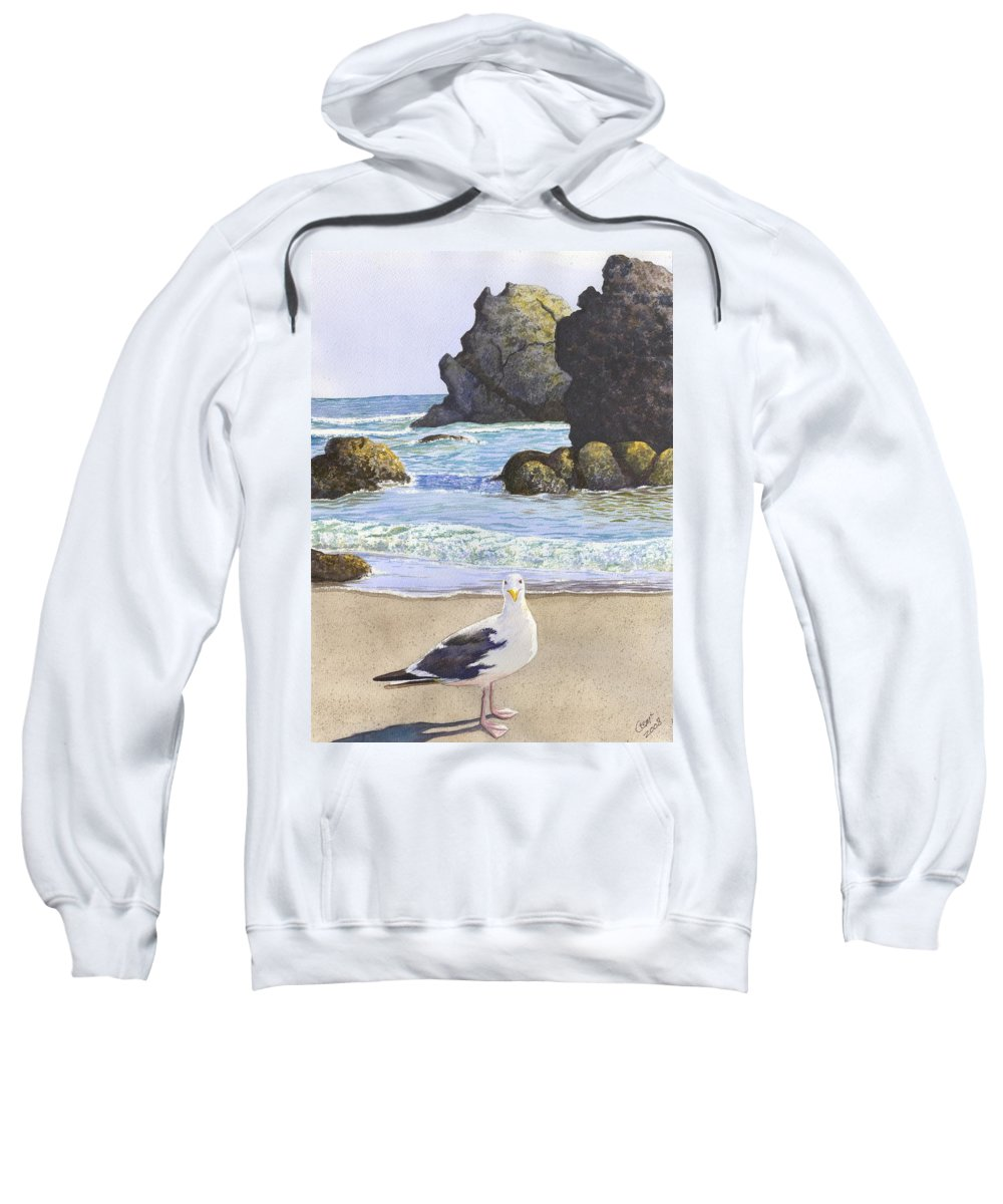 Oregon Coast Sweatshirt featuring the painting Harris Beach by Catherine G McElroy