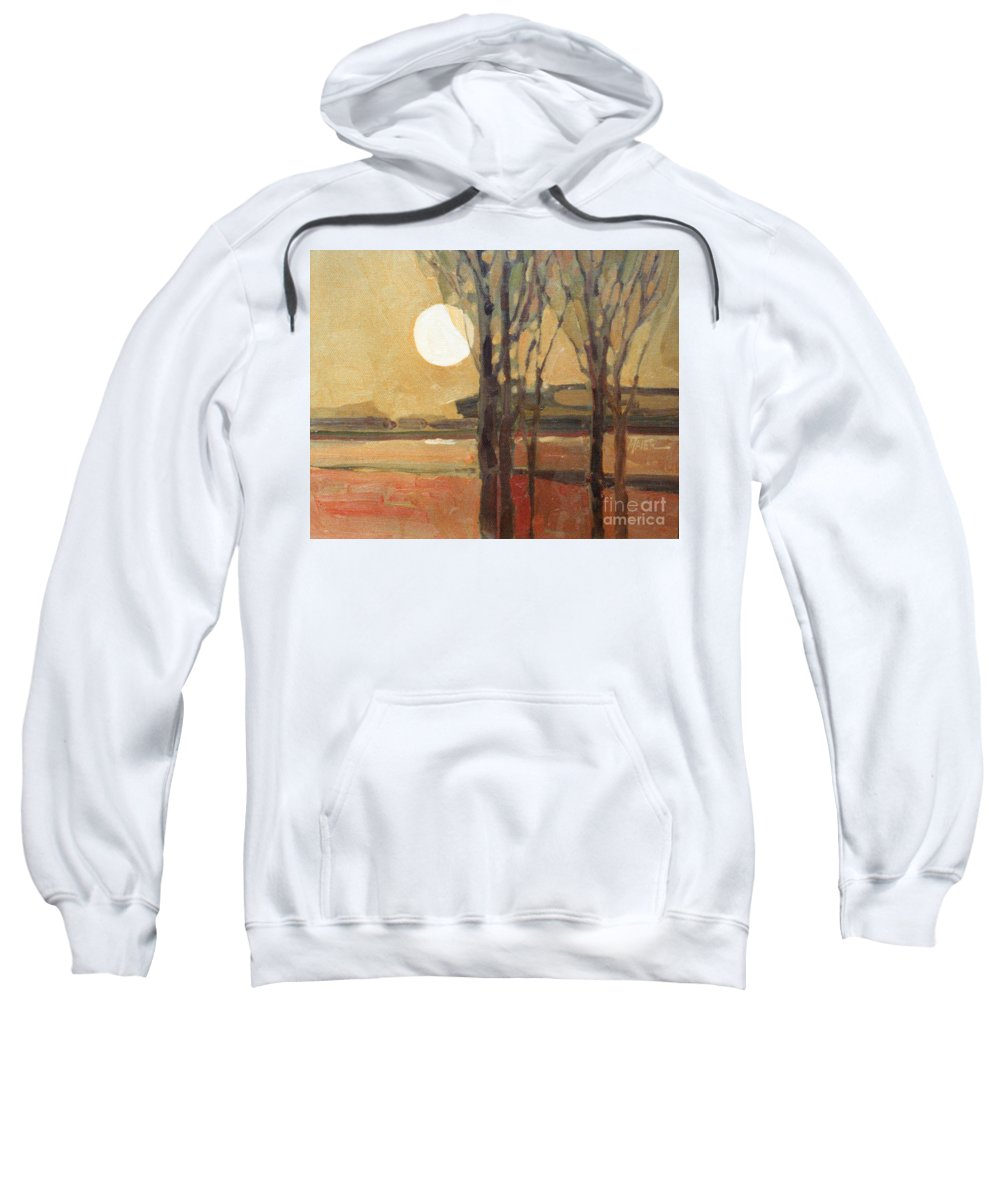 Sunset Sweatshirt featuring the painting Harvest Moon by Donald Maier