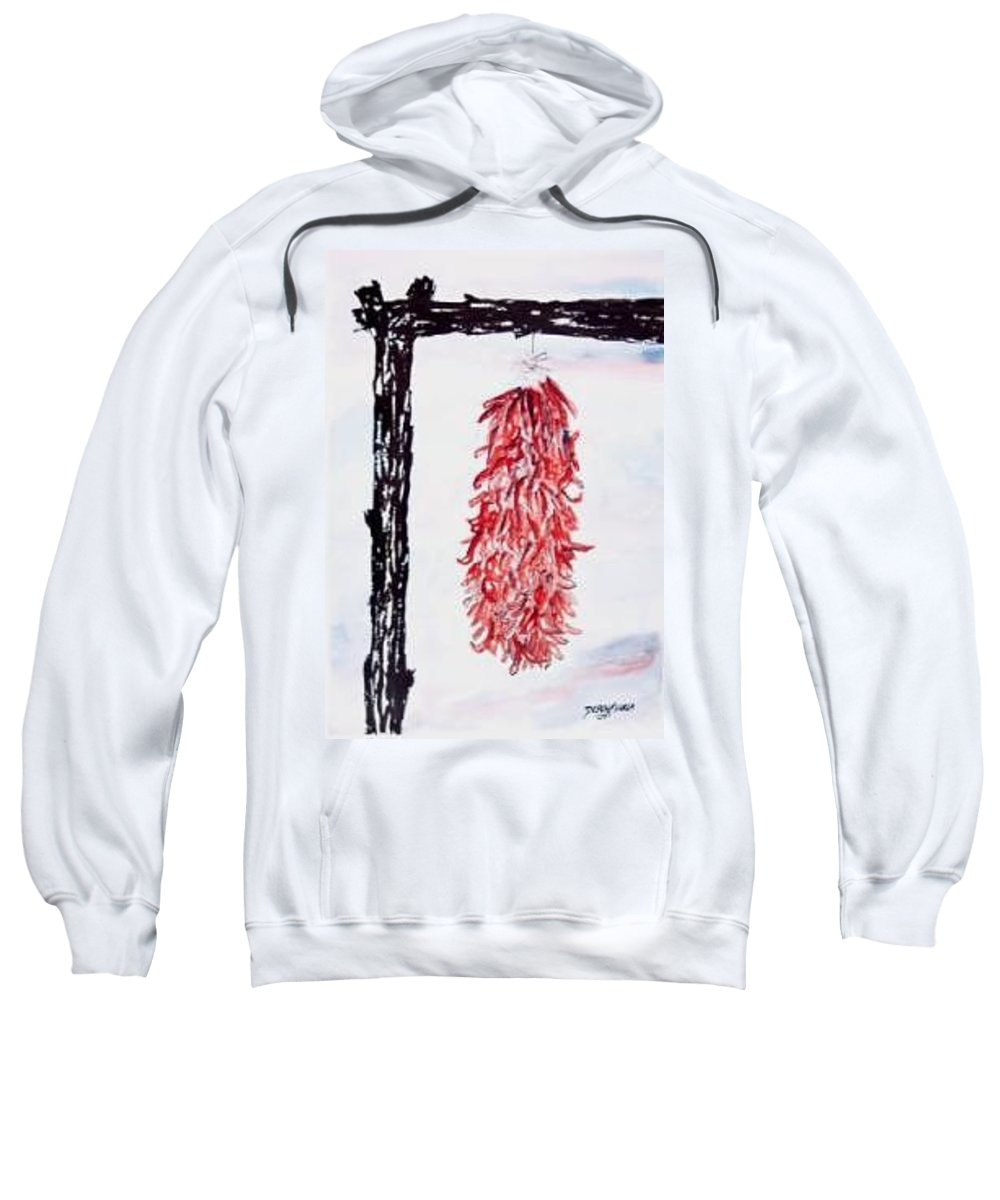 Watercolor Painting Sweatshirt featuring the painting Hatch Texas Chili Pepper Painting by Derek Mccrea