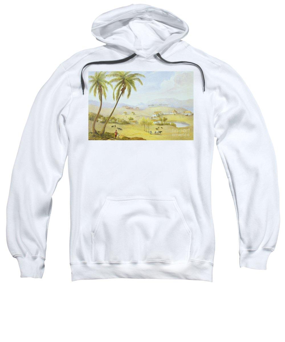 Haughton Sweatshirt featuring the painting Haughton Court - Hanover Jamaica by James Hakewill