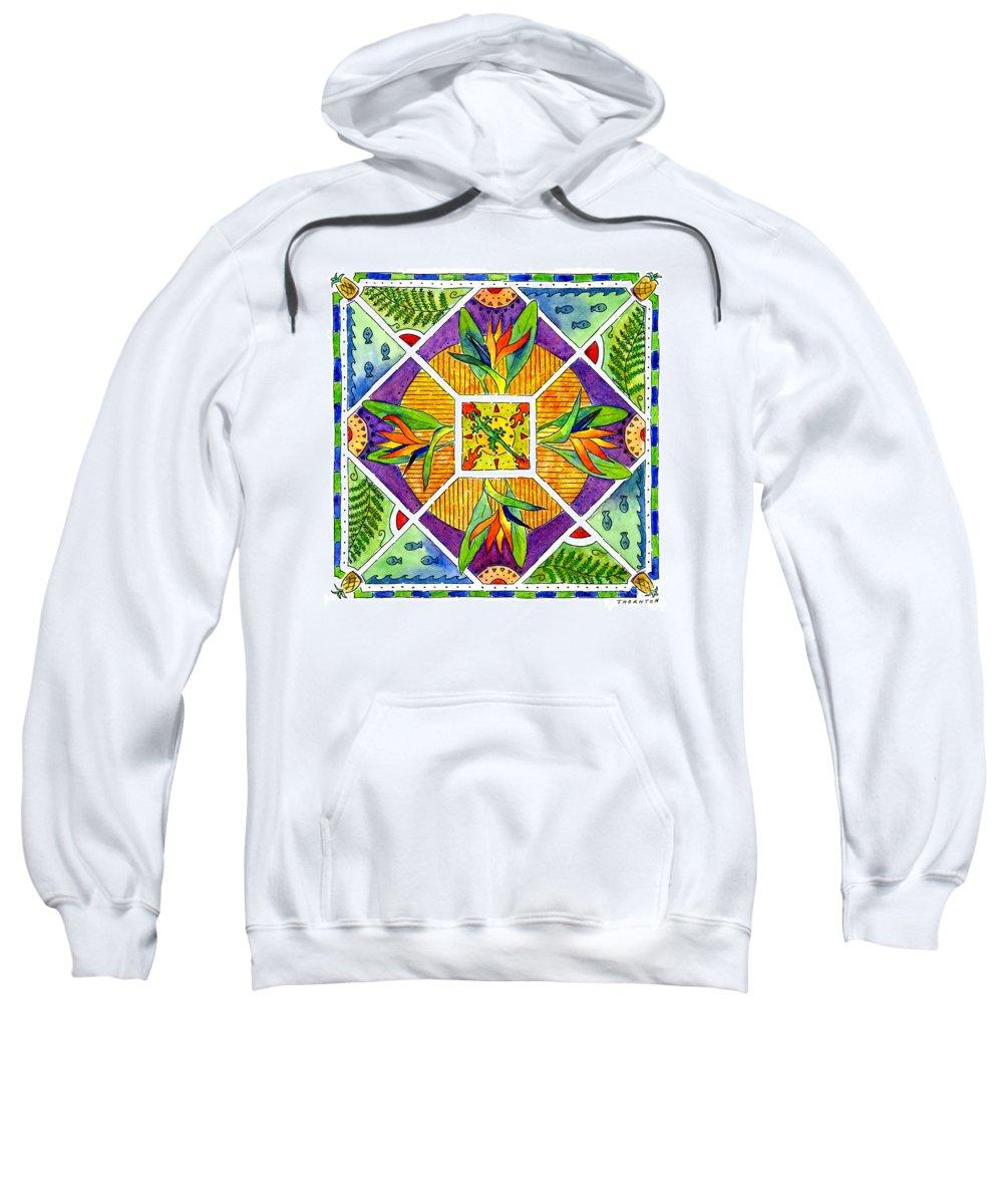 Mandala Sweatshirt featuring the painting Hawaiian Mandala II - Bird Of Paradise by Diane Thornton