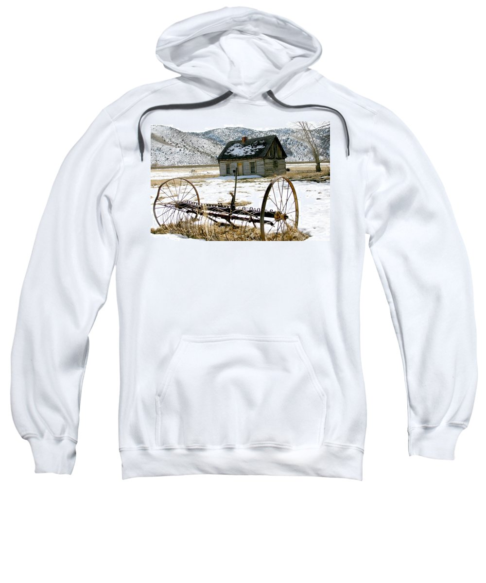 Utah Sweatshirt featuring the photograph Hay Rake At Butch Cassidy by Nelson Strong