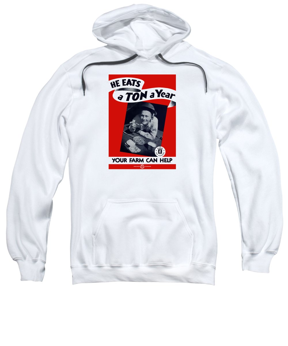 War Propaganda Sweatshirt featuring the painting He Eats A Ton A Year by War Is Hell Store