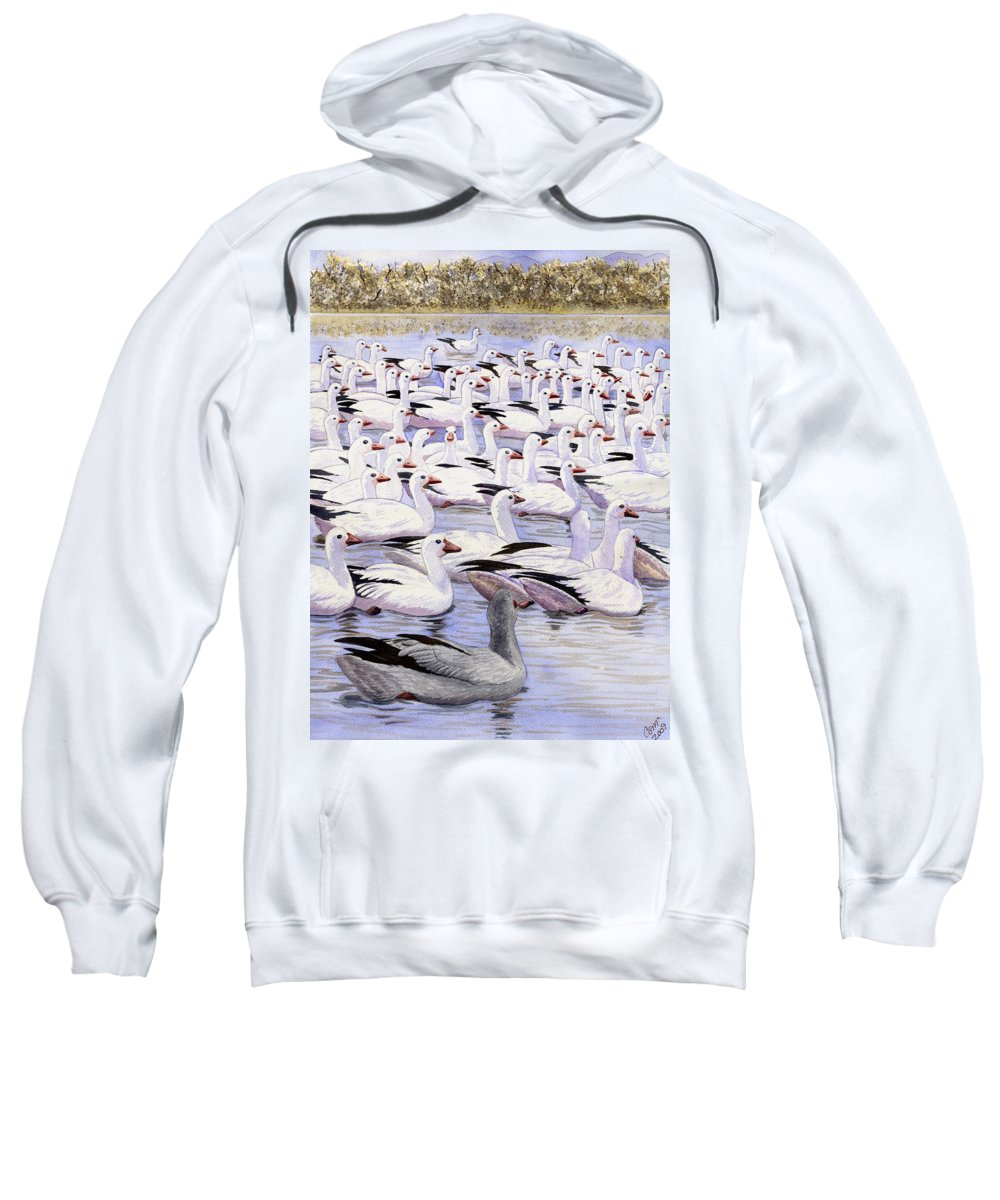 Geese Sweatshirt featuring the painting Heading North by Catherine G McElroy